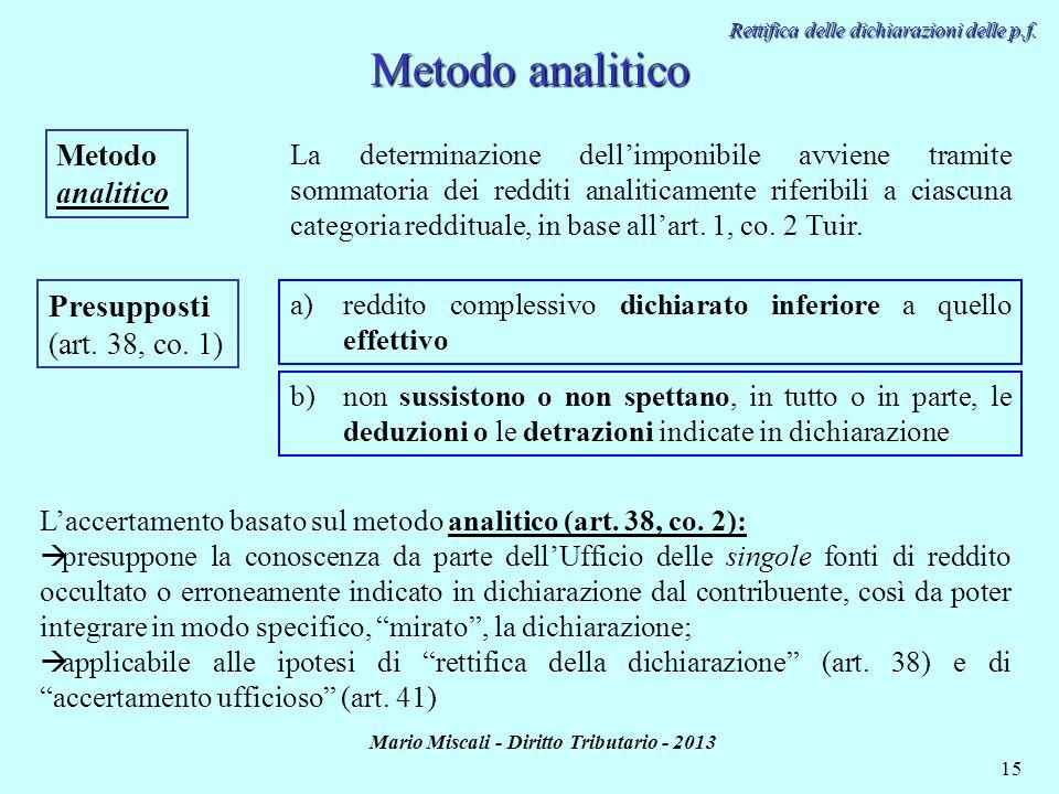 Mario Miscali - Diritto Tributario - 2013 15 Metodo analitico Presupposti (art. 38, co. 1) a)reddito complessivo dichiarato inferiore a quello effetti