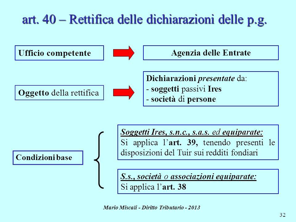 Mario Miscali - Diritto Tributario - 2013 32 Ufficio competente Oggetto della rettifica Agenzia delle Entrate Dichiarazioni presentate da: - soggetti