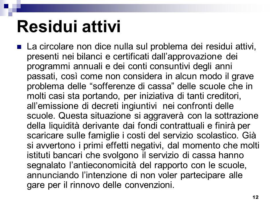 12 Residui attivi La circolare non dice nulla sul problema dei residui attivi, presenti nei bilanci e certificati dallapprovazione dei programmi annua