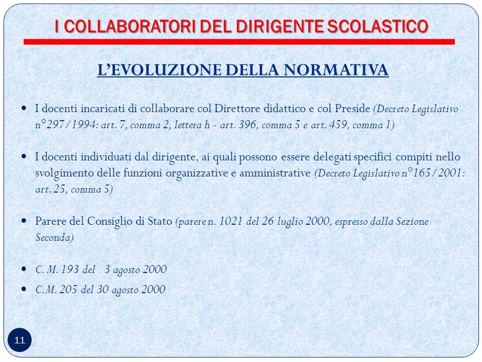 11 LEVOLUZIONE DELLA NORMATIVA I docenti incaricati di collaborare col Direttore didattico e col Preside (Decreto Legislativo n°297/1994: art.