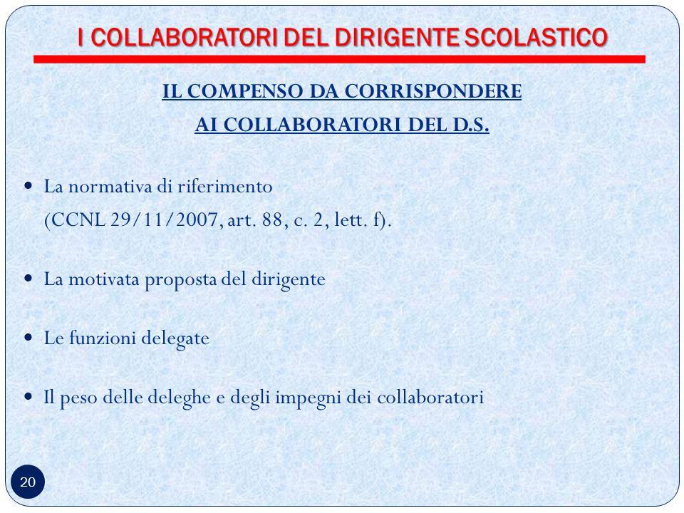 20 IL COMPENSO DA CORRISPONDERE AI COLLABORATORI DEL D.S.