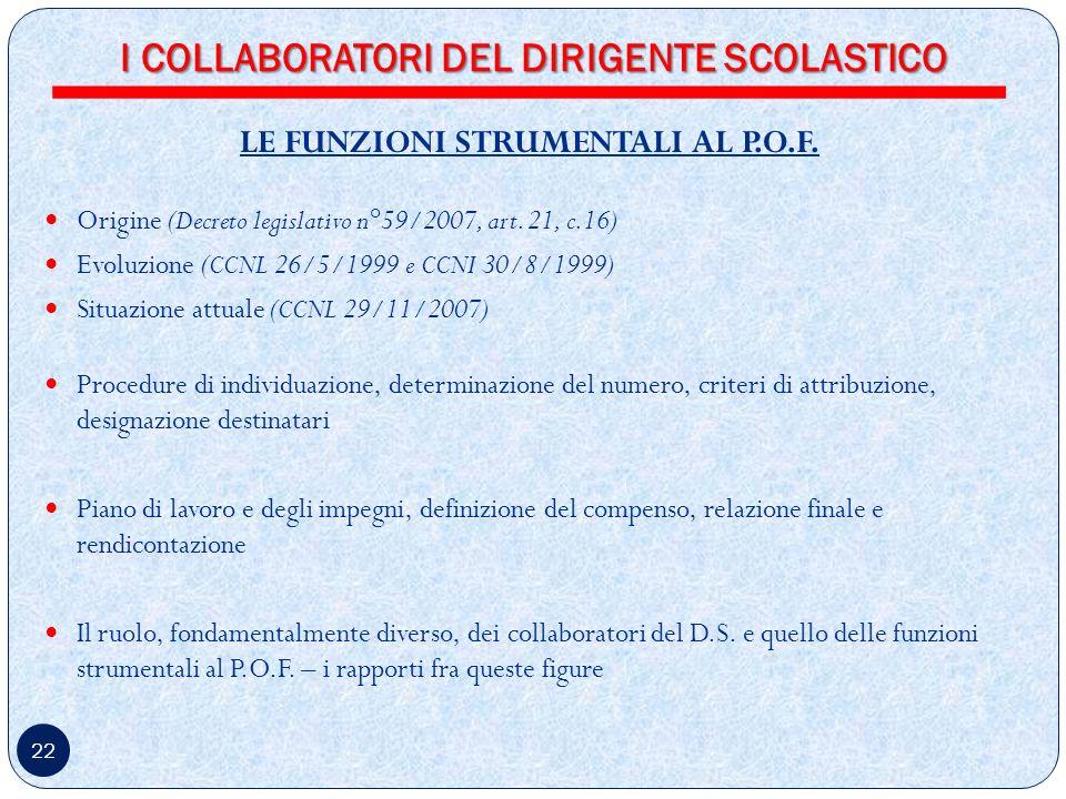 22 LE FUNZIONI STRUMENTALI AL P.O.F.Origine (Decreto legislativo n°59/2007, art.