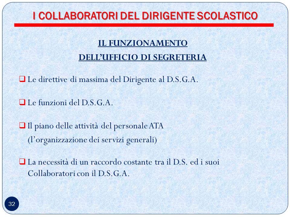 32 IL FUNZIONAMENTO DELLUFFICIO DI SEGRETERIA Le direttive di massima del Dirigente al D.S.G.A.