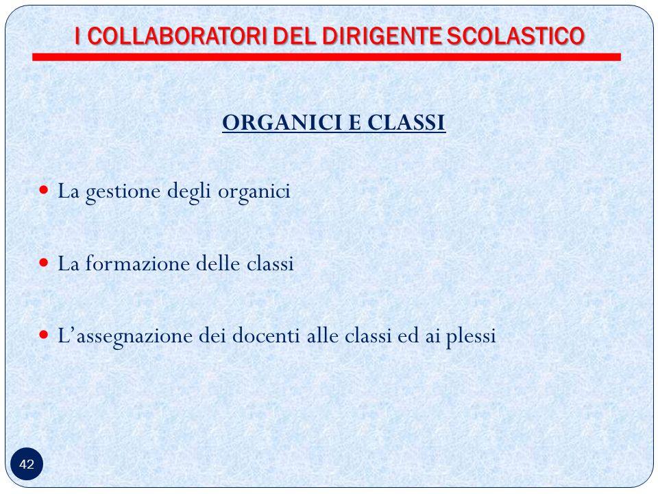 42 ORGANICI E CLASSI La gestione degli organici La formazione delle classi Lassegnazione dei docenti alle classi ed ai plessi I COLLABORATORI DEL DIRIGENTE SCOLASTICO