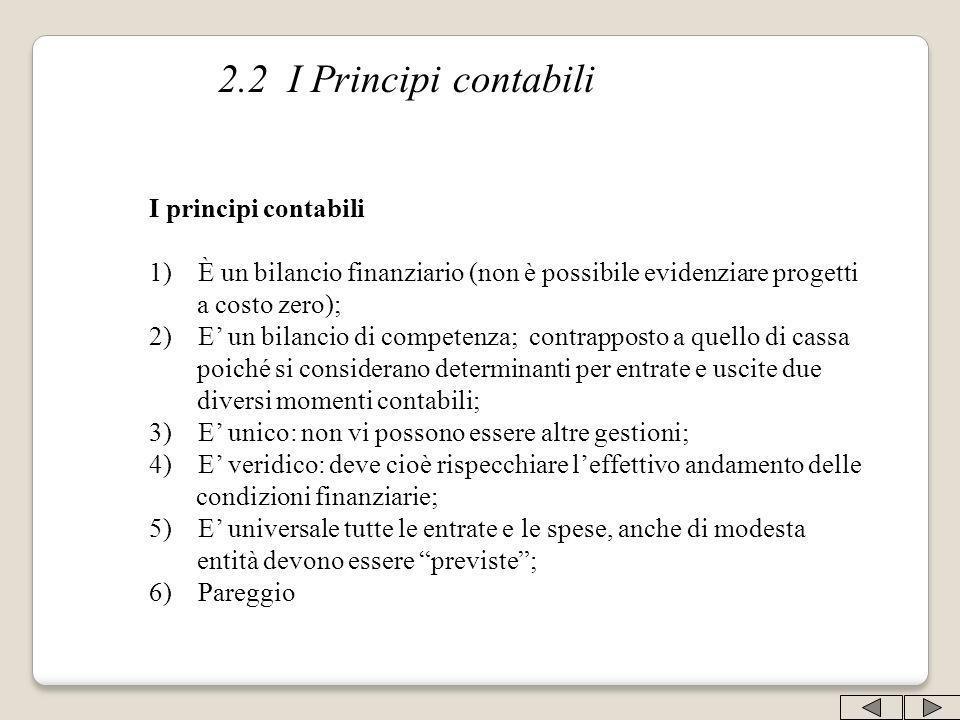 2.2 I Principi contabili I principi contabili 1) È un bilancio finanziario (non è possibile evidenziare progetti a costo zero); 2) E un bilancio di co
