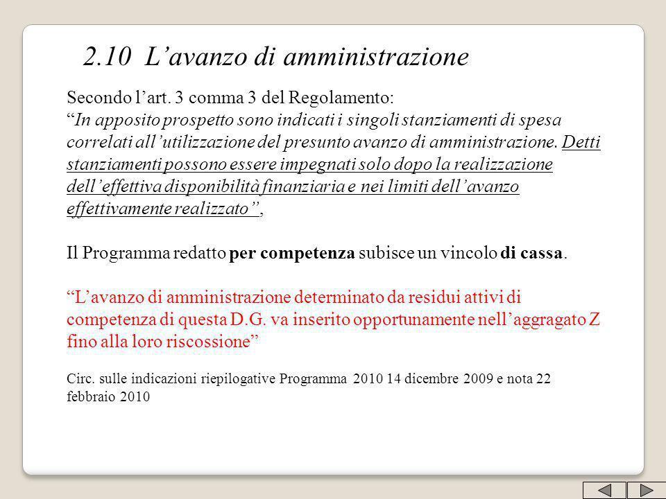 2.10 Lavanzo di amministrazione Secondo lart. 3 comma 3 del Regolamento: In apposito prospetto sono indicati i singoli stanziamenti di spesa correlati