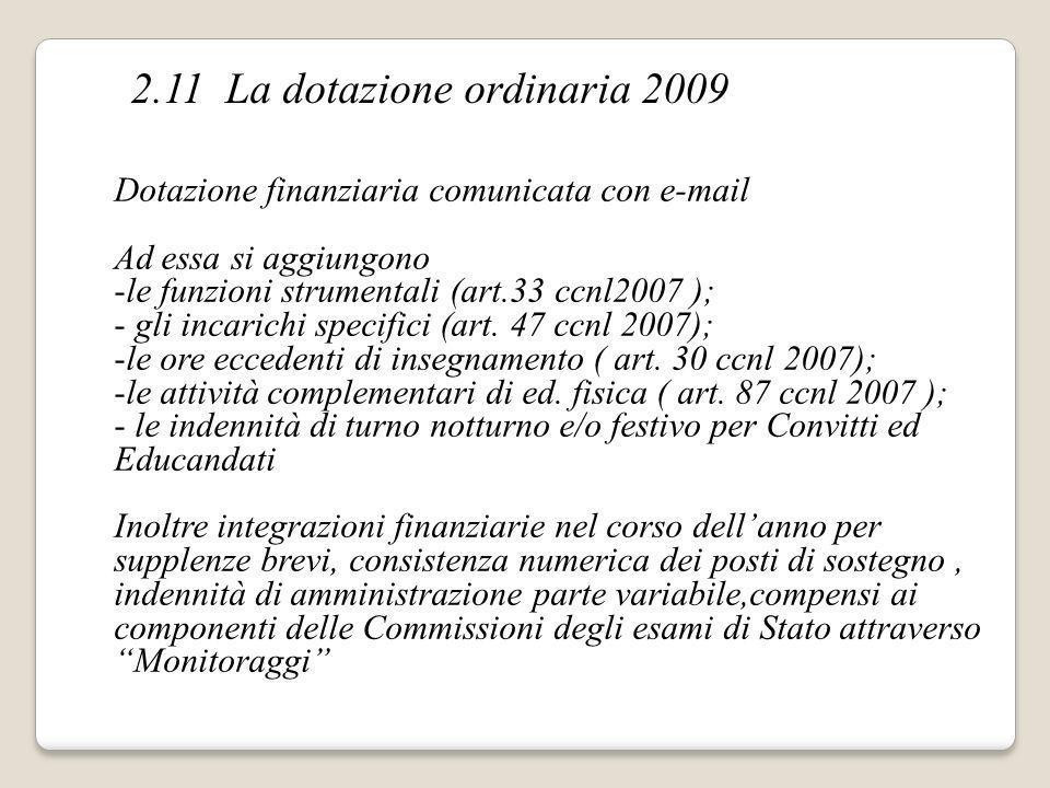Dotazione finanziaria comunicata con e-mail Ad essa si aggiungono -le funzioni strumentali (art.33 ccnl2007 ); - gli incarichi specifici (art. 47 ccnl