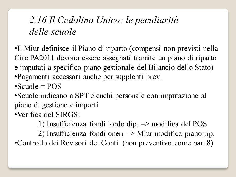 2.16 Il Cedolino Unico: le peculiarità delle scuole Il Miur definisce il Piano di riparto (compensi non previsti nella Circ.PA2011 devono essere asseg