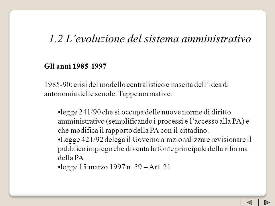 1.2 Levoluzione del sistema amministrativo Gli anni 1985-1997 1985-90: crisi del modello centralistico e nascita dellidea di autonomia delle scuole. T