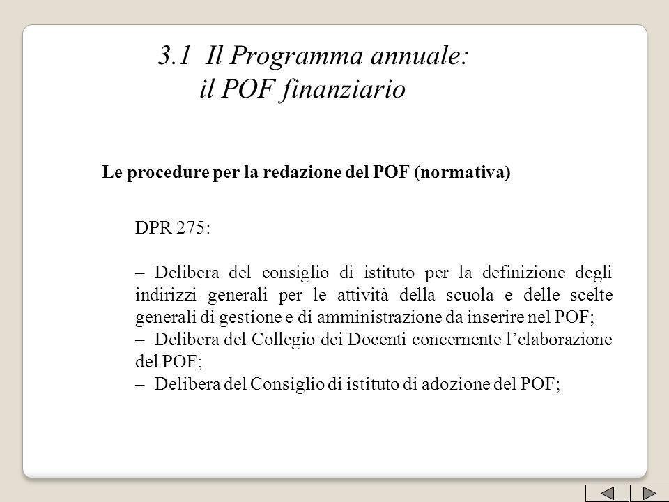 3.1 Il Programma annuale: il POF finanziario Le procedure per la redazione del POF (normativa) DPR 275: –Delibera del consiglio di istituto per la def