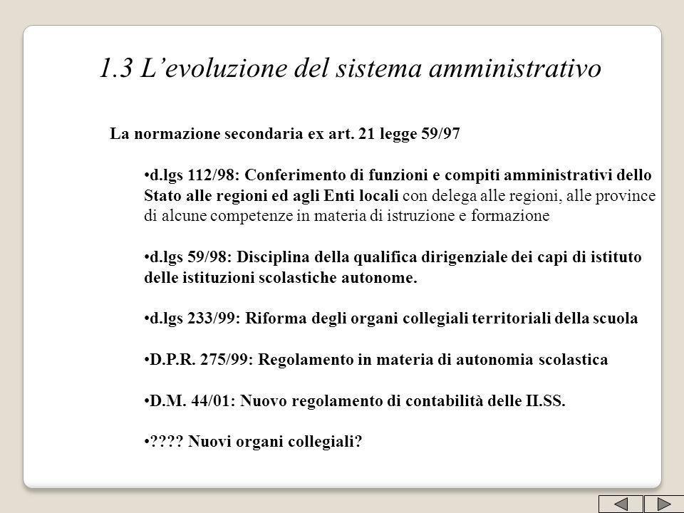 1.3 Levoluzione del sistema amministrativo La normazione secondaria ex art. 21 legge 59/97 d.lgs 112/98: Conferimento di funzioni e compiti amministra