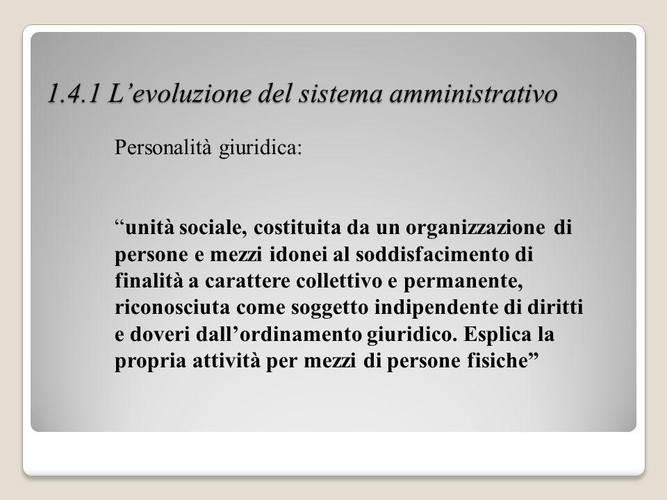 1.4.1 Levoluzione del sistema amministrativo Personalità giuridica: unità sociale, costituita da un organizzazione di persone e mezzi idonei al soddis