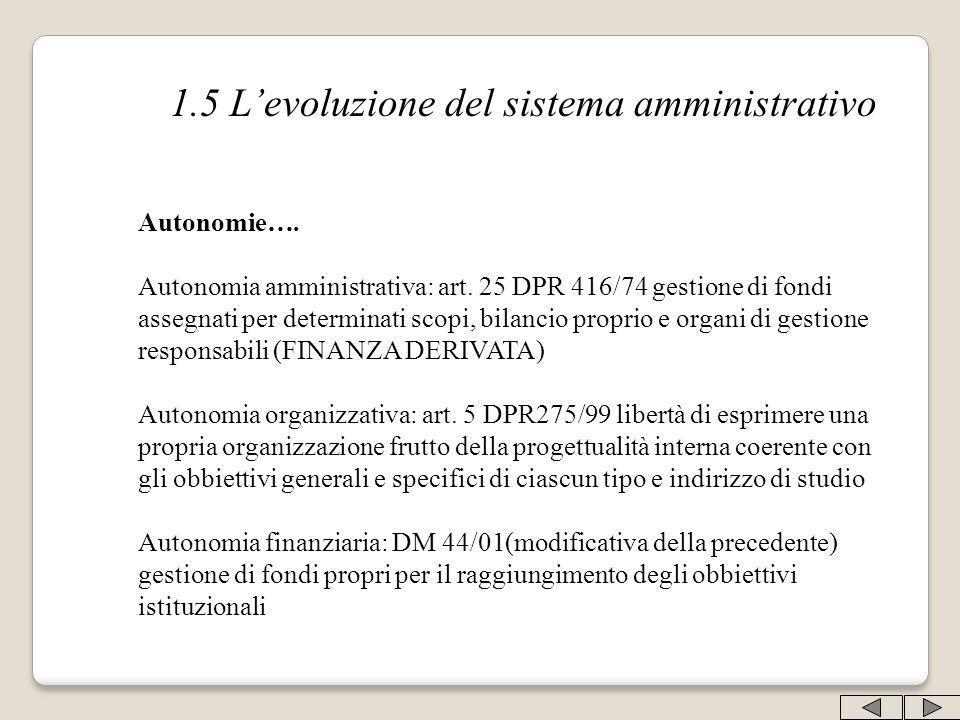 1.5 Levoluzione del sistema amministrativo Autonomie…. Autonomia amministrativa: art. 25 DPR 416/74 gestione di fondi assegnati per determinati scopi,