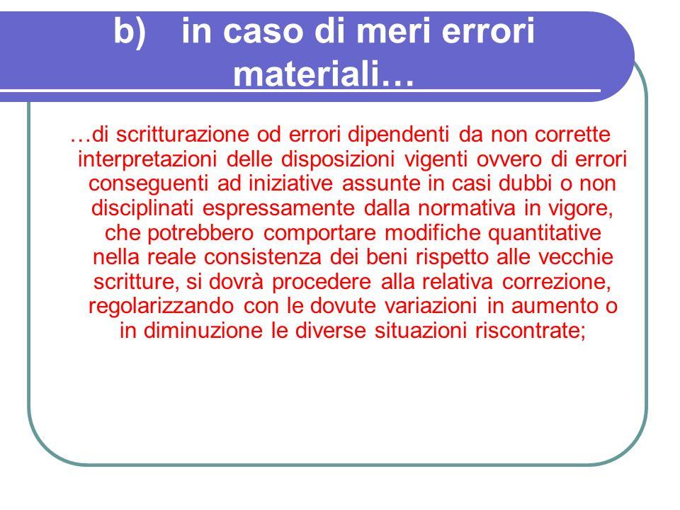 b)in caso di meri errori materiali… …di scritturazione od errori dipendenti da non corrette interpretazioni delle disposizioni vigenti ovvero di error