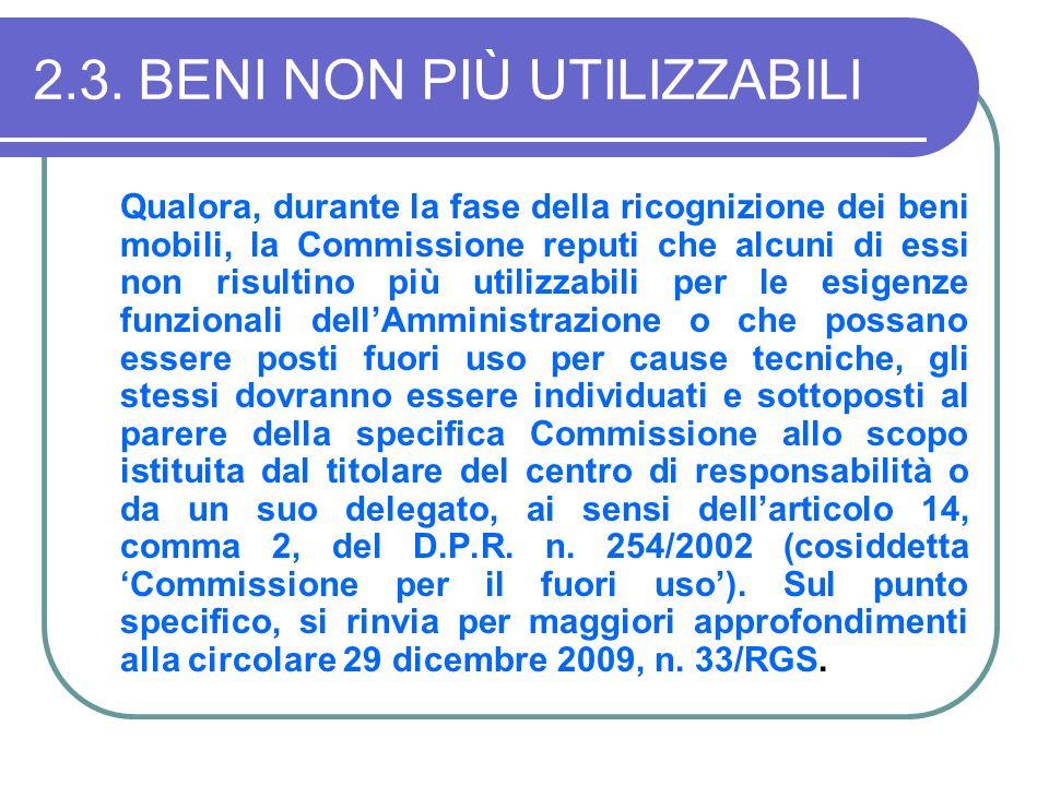 2.3.BENI NON PIÙ UTILIZZABILI Qualora, durante la fase della ricognizione dei beni mobili, la Commissione reputi che alcuni di essi non risultino più