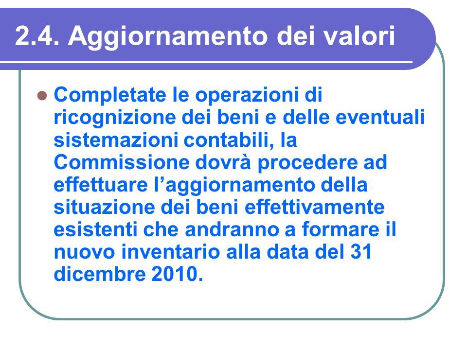 2.4. Aggiornamento dei valori Completate le operazioni di ricognizione dei beni e delle eventuali sistemazioni contabili, la Commissione dovrà procede