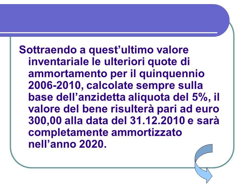 Sottraendo a questultimo valore inventariale le ulteriori quote di ammortamento per il quinquennio 2006-2010, calcolate sempre sulla base dellanzidett