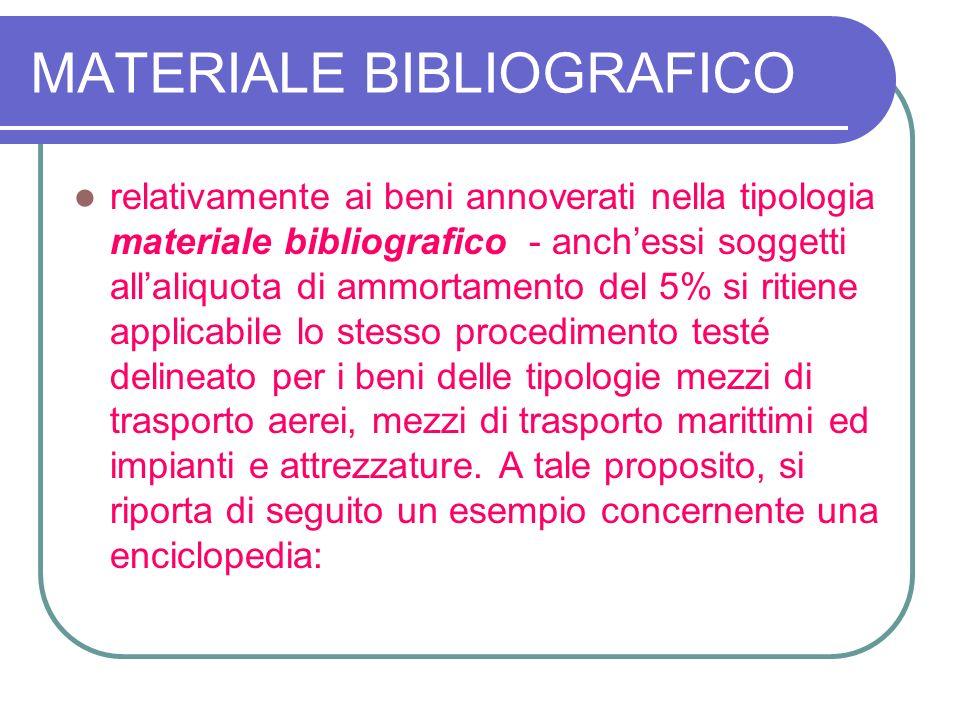 MATERIALE BIBLIOGRAFICO relativamente ai beni annoverati nella tipologia materiale bibliografico - anchessi soggetti allaliquota di ammortamento del 5