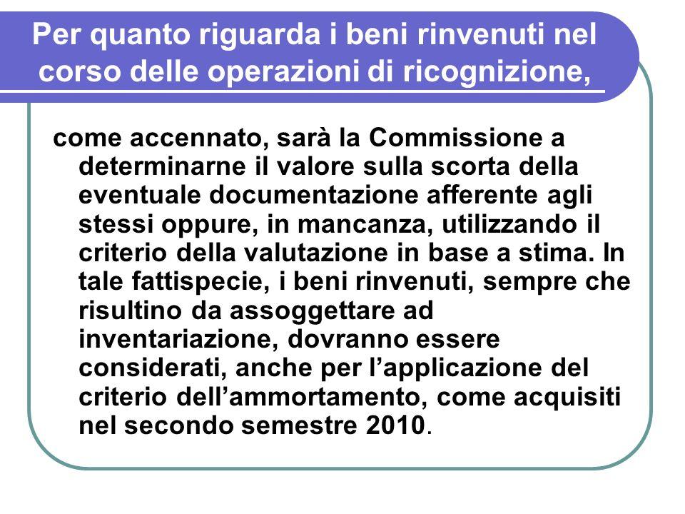 Per quanto riguarda i beni rinvenuti nel corso delle operazioni di ricognizione, come accennato, sarà la Commissione a determinarne il valore sulla sc