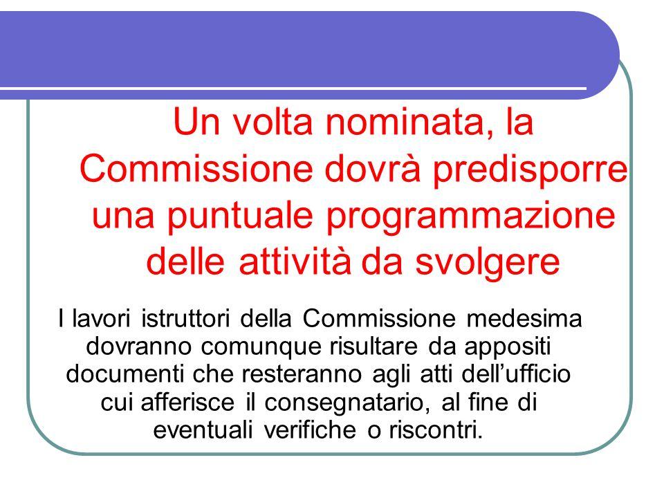Un volta nominata, la Commissione dovrà predisporre una puntuale programmazione delle attività da svolgere I lavori istruttori della Commissione medes