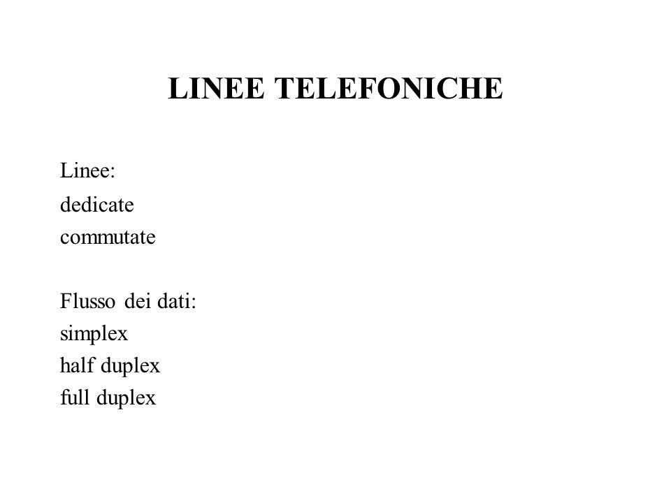 LINEE TELEFONICHE Linee: dedicate commutate Flusso dei dati: simplex half duplex full duplex