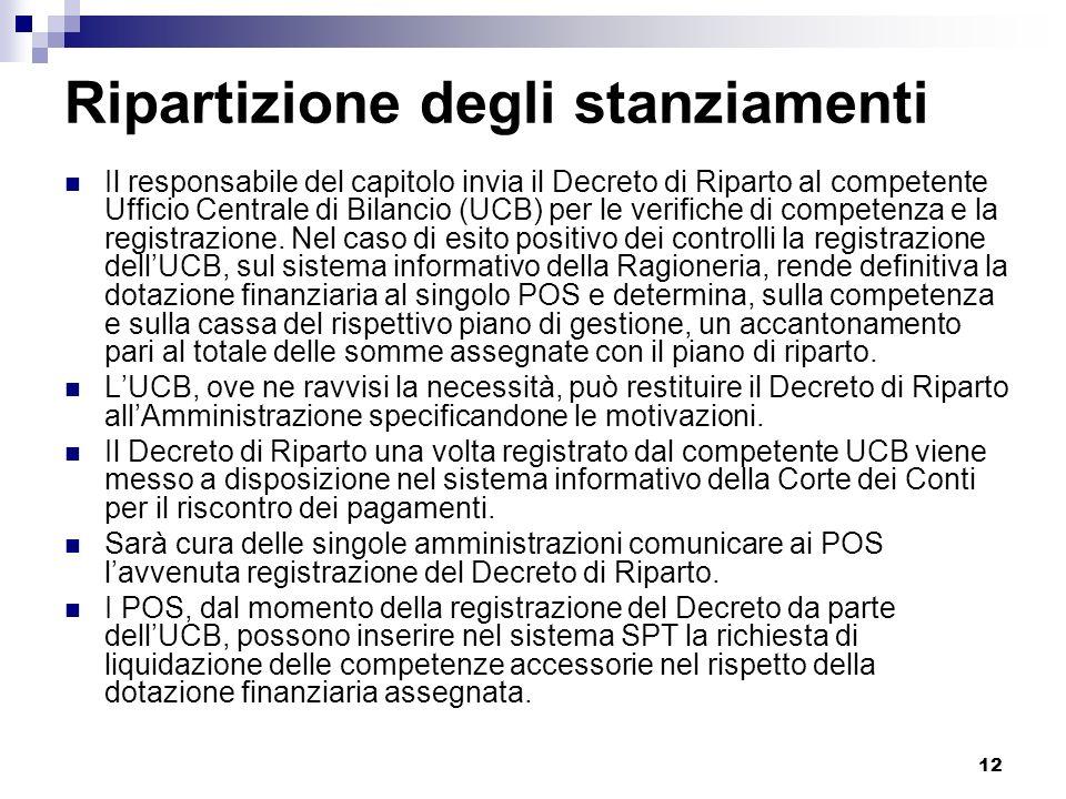 12 Ripartizione degli stanziamenti Il responsabile del capitolo invia il Decreto di Riparto al competente Ufficio Centrale di Bilancio (UCB) per le ve