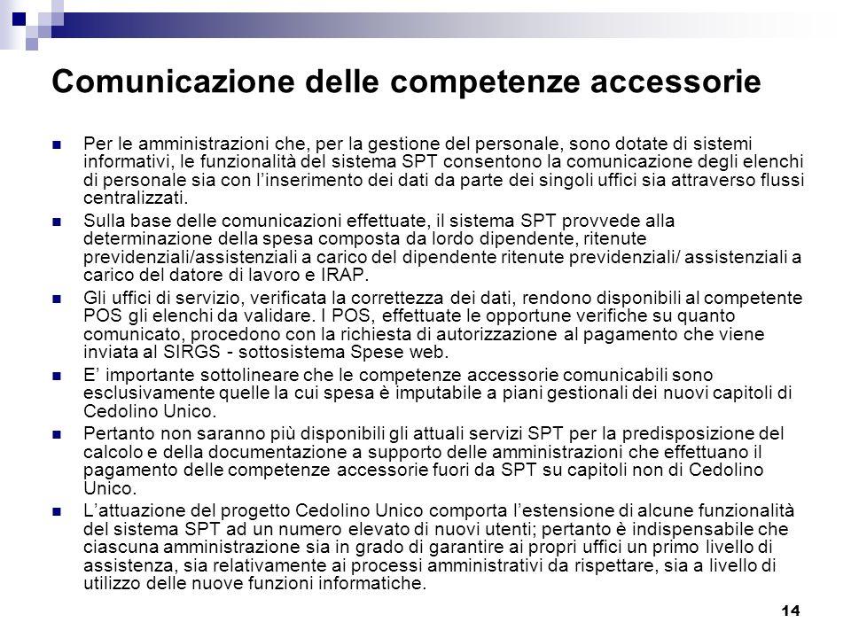 14 Comunicazione delle competenze accessorie Per le amministrazioni che, per la gestione del personale, sono dotate di sistemi informativi, le funzion