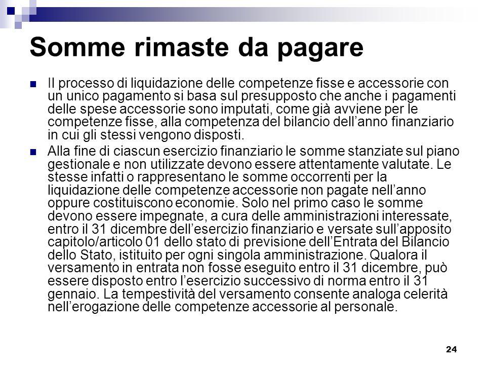 24 Somme rimaste da pagare Il processo di liquidazione delle competenze fisse e accessorie con un unico pagamento si basa sul presupposto che anche i