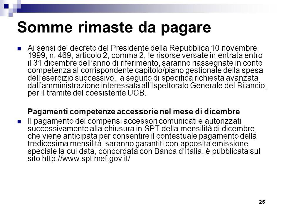 25 Somme rimaste da pagare Ai sensi del decreto del Presidente della Repubblica 10 novembre 1999, n. 469, articolo 2, comma 2, le risorse versate in e