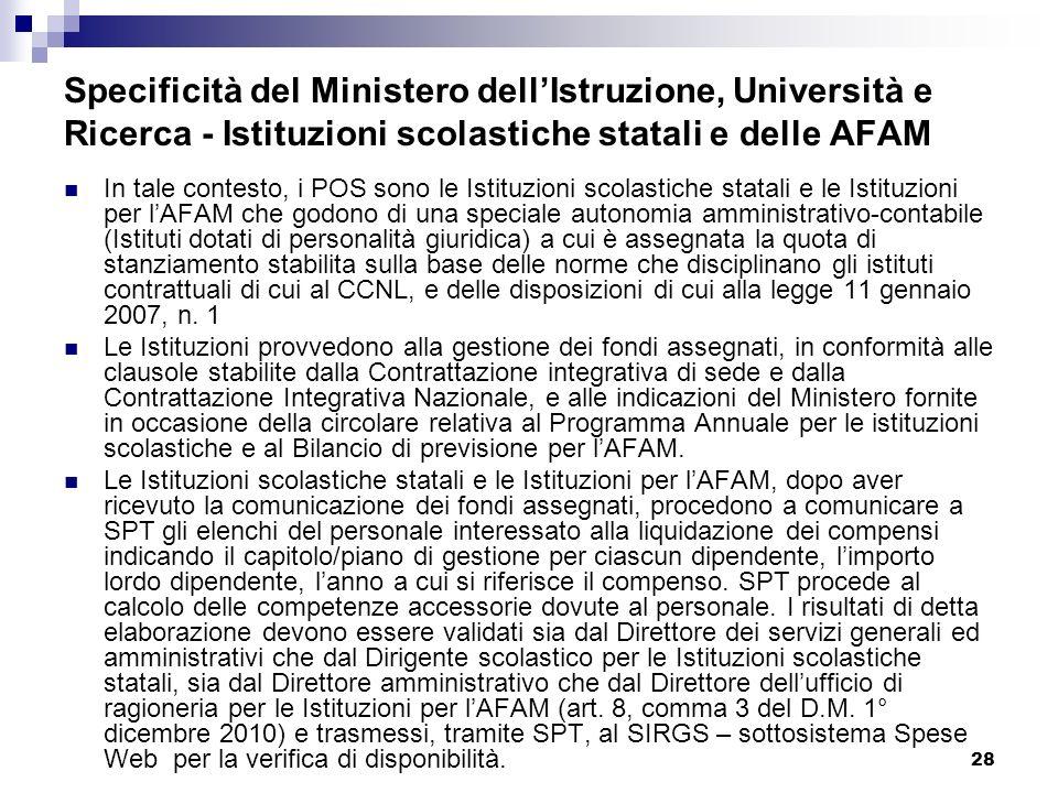 28 Specificità del Ministero dellIstruzione, Università e Ricerca - Istituzioni scolastiche statali e delle AFAM In tale contesto, i POS sono le Istit
