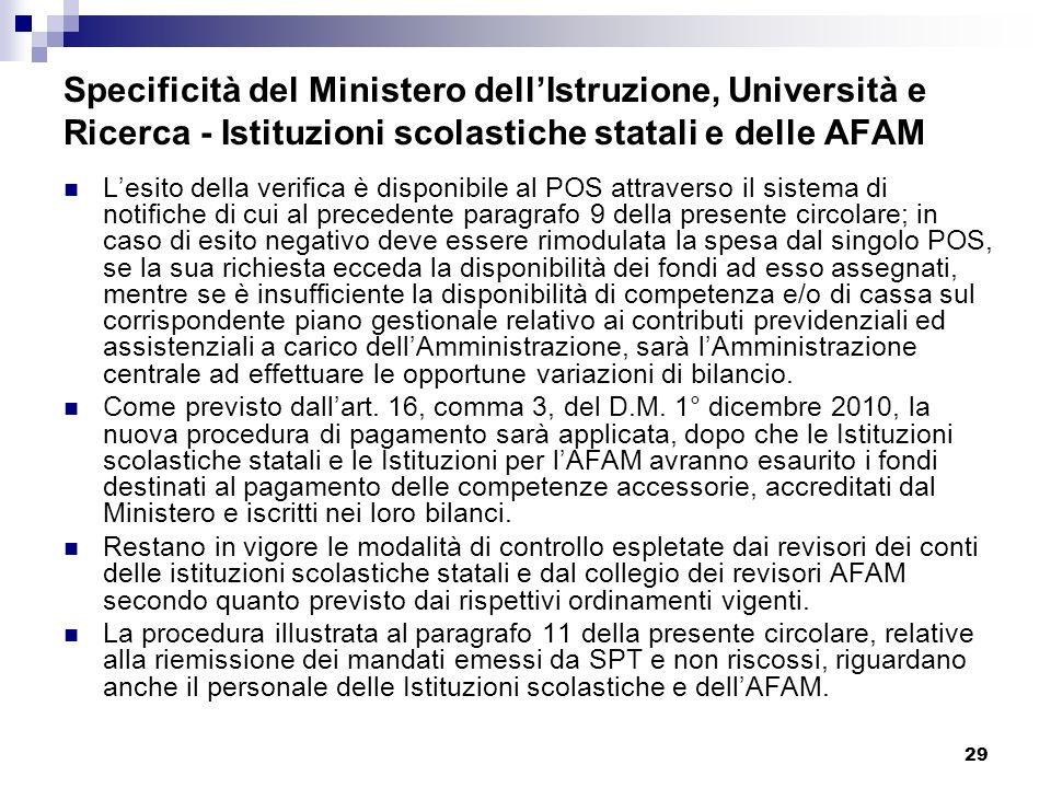 29 Specificità del Ministero dellIstruzione, Università e Ricerca - Istituzioni scolastiche statali e delle AFAM Lesito della verifica è disponibile a