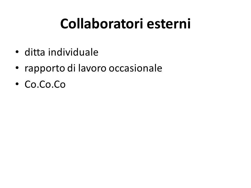 Collaboratori esterni ditta individuale rapporto di lavoro occasionale Co.Co.Co