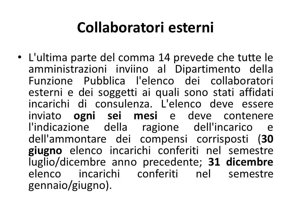 Collaboratori esterni L'ultima parte del comma 14 prevede che tutte le amministrazioni inviino al Dipartimento della Funzione Pubblica l'elenco dei co