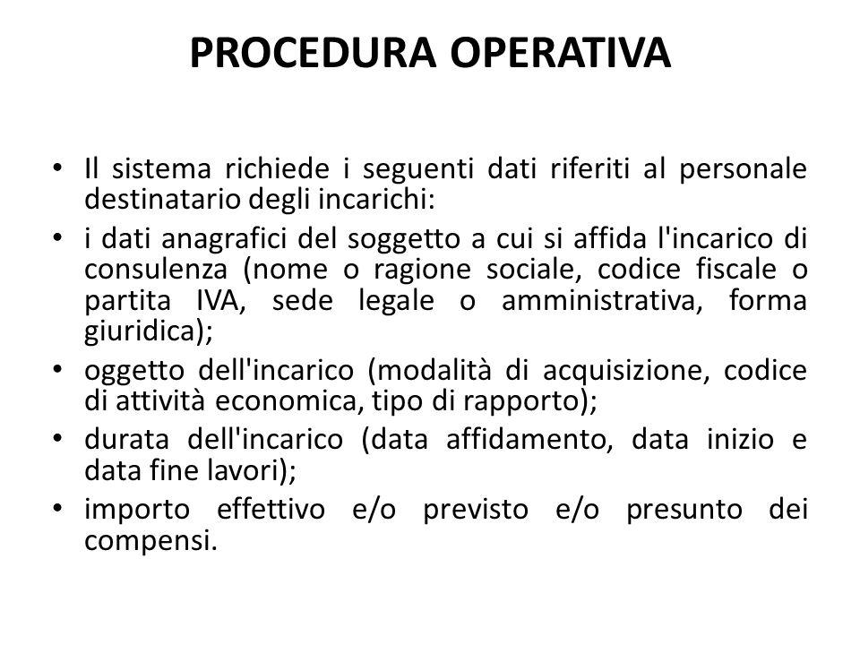 PROCEDURA OPERATIVA Il sistema richiede i seguenti dati riferiti al personale destinatario degli incarichi: i dati anagrafici del soggetto a cui si af