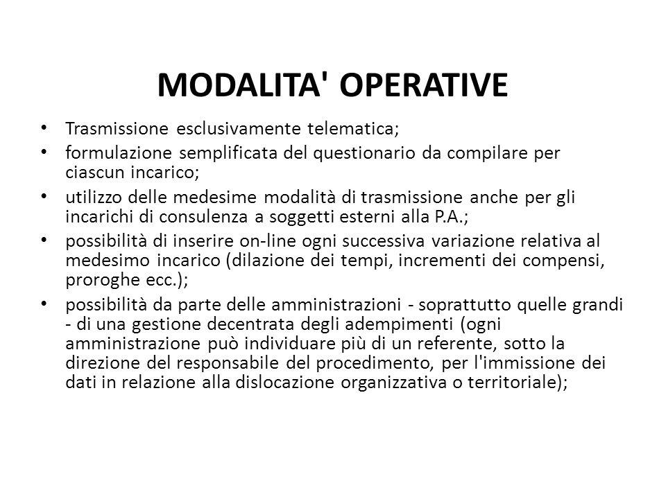 MODALITA' OPERATIVE Trasmissione esclusivamente telematica; formulazione semplificata del questionario da compilare per ciascun incarico; utilizzo del