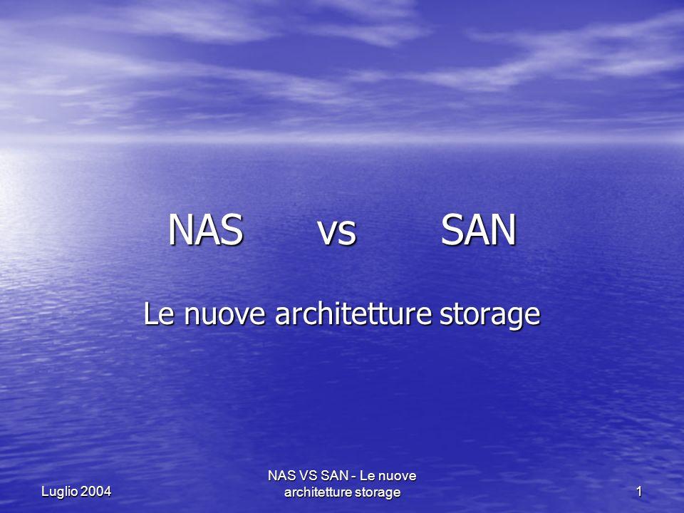 Luglio 2004 NAS VS SAN - Le nuove architetture storage12 ARCHITETTURA NAS I Network Attached Storage sono dispositivi di memorizzazione di file collegati ad una rete.