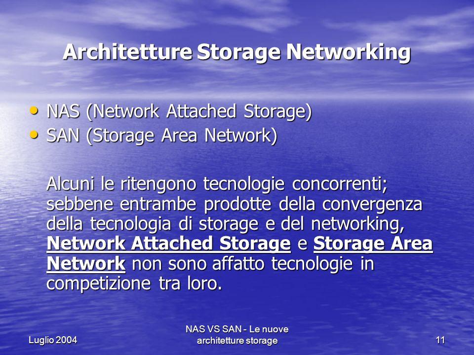 Luglio 2004 NAS VS SAN - Le nuove architetture storage11 Architetture Storage Networking NAS (Network Attached Storage) NAS (Network Attached Storage)
