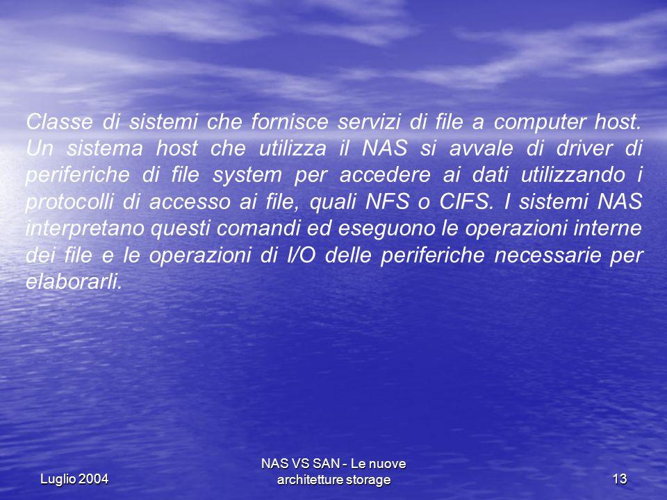 Luglio 2004 NAS VS SAN - Le nuove architetture storage13 Classe di sistemi che fornisce servizi di file a computer host. Un sistema host che utilizza