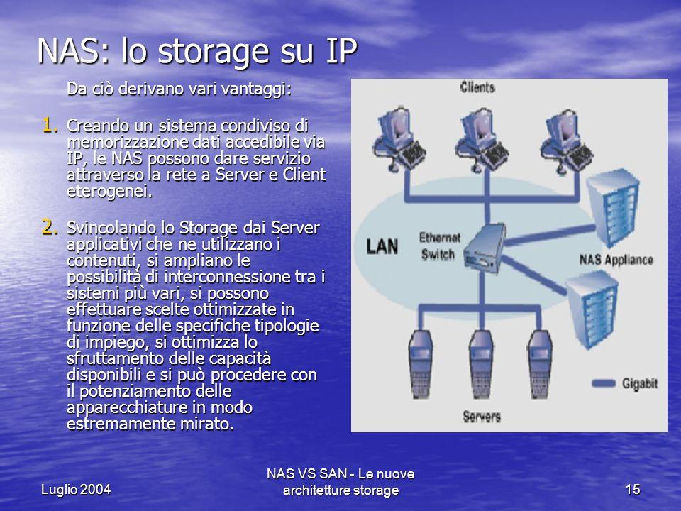 Luglio 2004 NAS VS SAN - Le nuove architetture storage15 NAS: lo storage su IP Da ciò derivano vari vantaggi: 1. Creando un sistema condiviso di memor