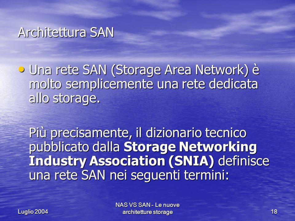 Luglio 2004 NAS VS SAN - Le nuove architetture storage18 Architettura SAN Una rete SAN (Storage Area Network) è molto semplicemente una rete dedicata