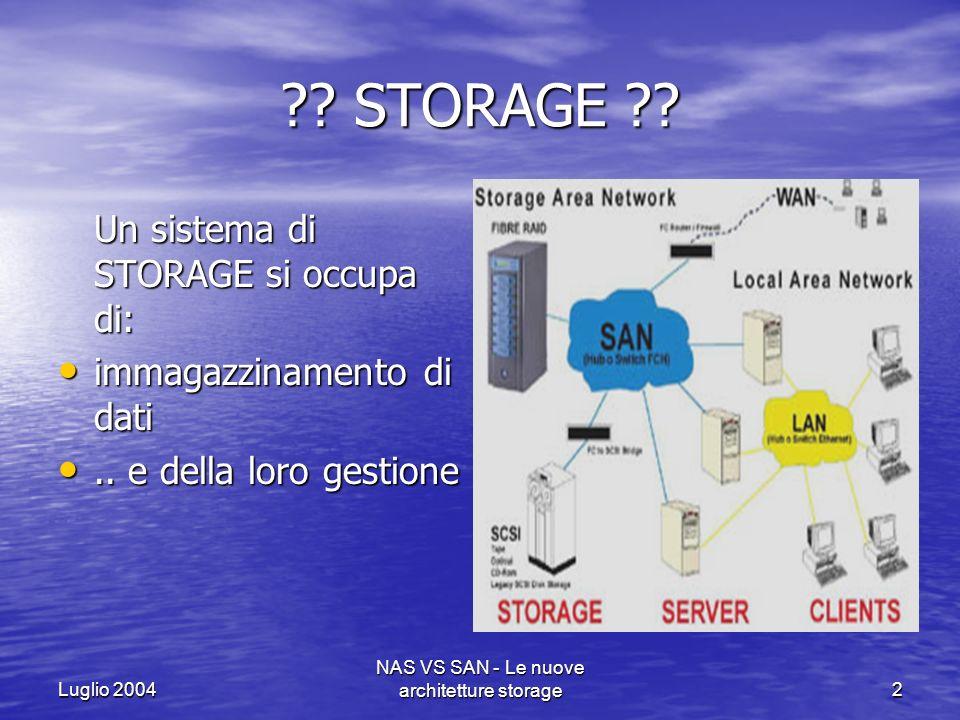 Luglio 2004 NAS VS SAN - Le nuove architetture storage23 Con larchitettura SAN è possibile ottenere: Una visione e gestione centralizzata di tutti i dati aziendali a livello di client, server, storage e nodi di rete.
