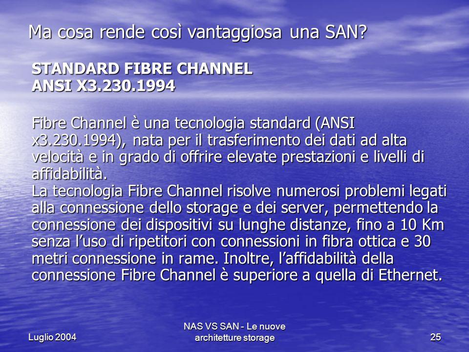 Luglio 2004 NAS VS SAN - Le nuove architetture storage25 Ma cosa rende così vantaggiosa una SAN? STANDARD FIBRE CHANNEL ANSI X3.230.1994 STANDARD FIBR