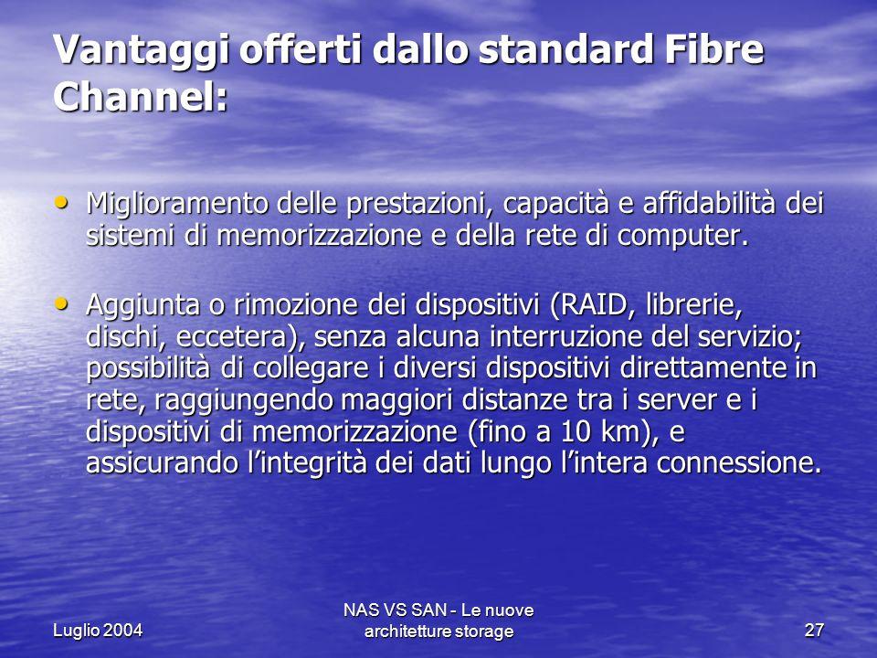 Luglio 2004 NAS VS SAN - Le nuove architetture storage27 Vantaggi offerti dallo standard Fibre Channel: Miglioramento delle prestazioni, capacità e af