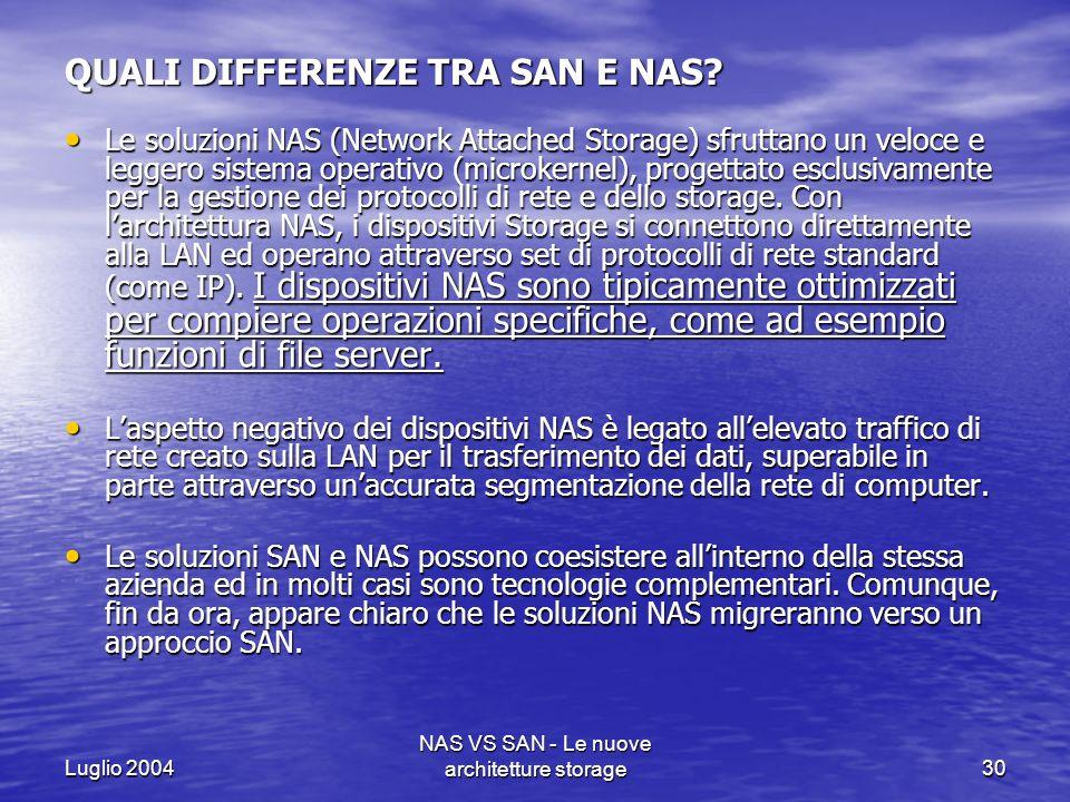 Luglio 2004 NAS VS SAN - Le nuove architetture storage30 QUALI DIFFERENZE TRA SAN E NAS? Le soluzioni NAS (Network Attached Storage) sfruttano un velo