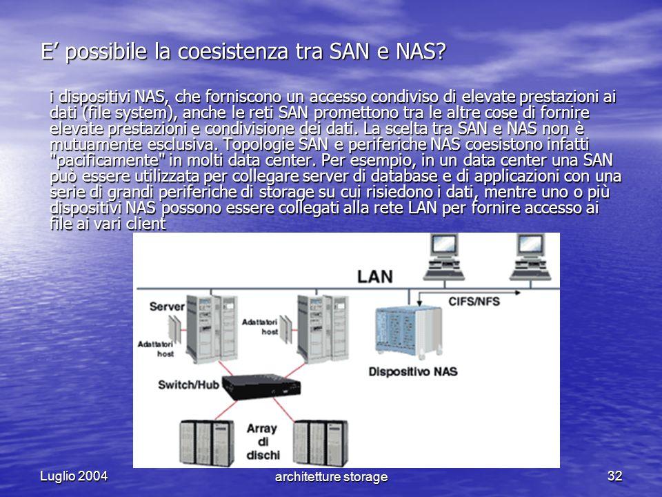Luglio 2004 NAS VS SAN - Le nuove architetture storage32 E possibile la coesistenza tra SAN e NAS? i dispositivi NAS, che forniscono un accesso condiv