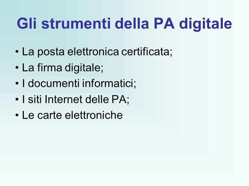 Gli strumenti della PA digitale La posta elettronica certificata; La firma digitale; I documenti informatici; I siti Internet delle PA; Le carte elettroniche