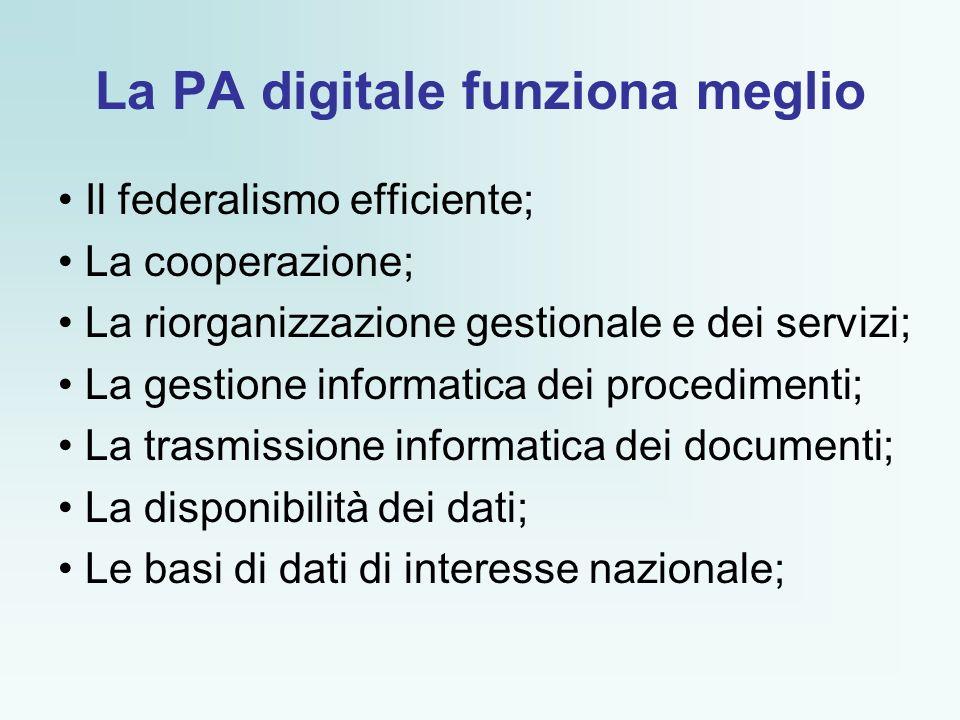 La PA digitale funziona meglio Il federalismo efficiente; La cooperazione; La riorganizzazione gestionale e dei servizi; La gestione informatica dei procedimenti; La trasmissione informatica dei documenti; La disponibilità dei dati; Le basi di dati di interesse nazionale;
