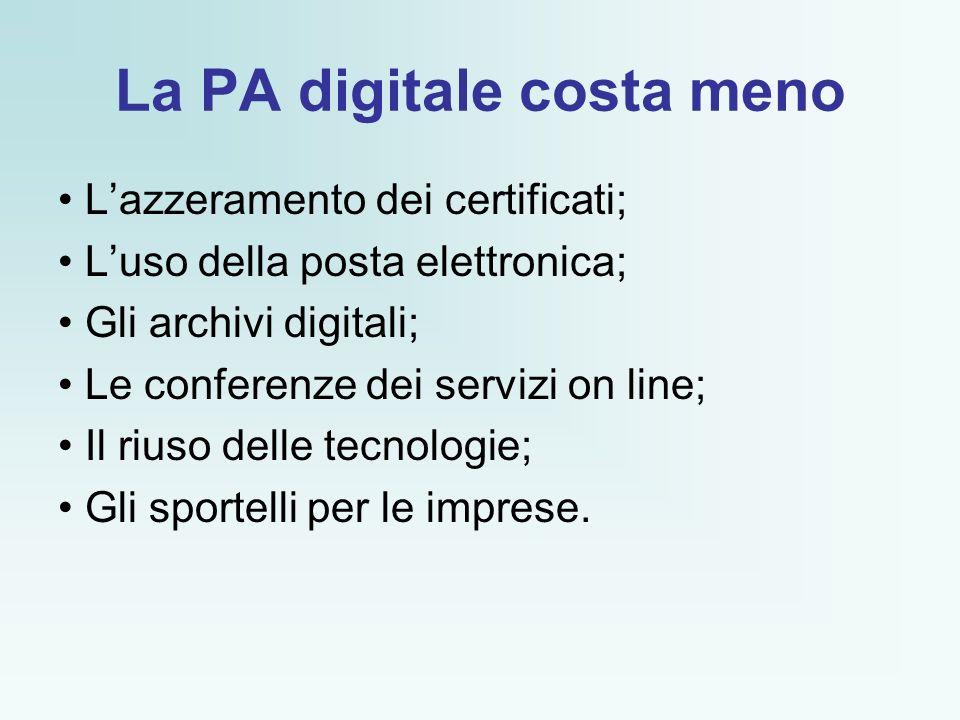 La PA digitale costa meno Lazzeramento dei certificati; Luso della posta elettronica; Gli archivi digitali; Le conferenze dei servizi on line; Il riuso delle tecnologie; Gli sportelli per le imprese.