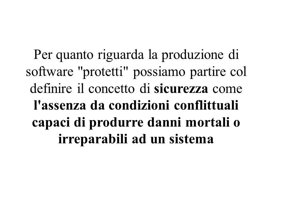 Per quanto riguarda la produzione di software protetti possiamo partire col definire il concetto di sicurezza come l assenza da condizioni conflittuali capaci di produrre danni mortali o irreparabili ad un sistema