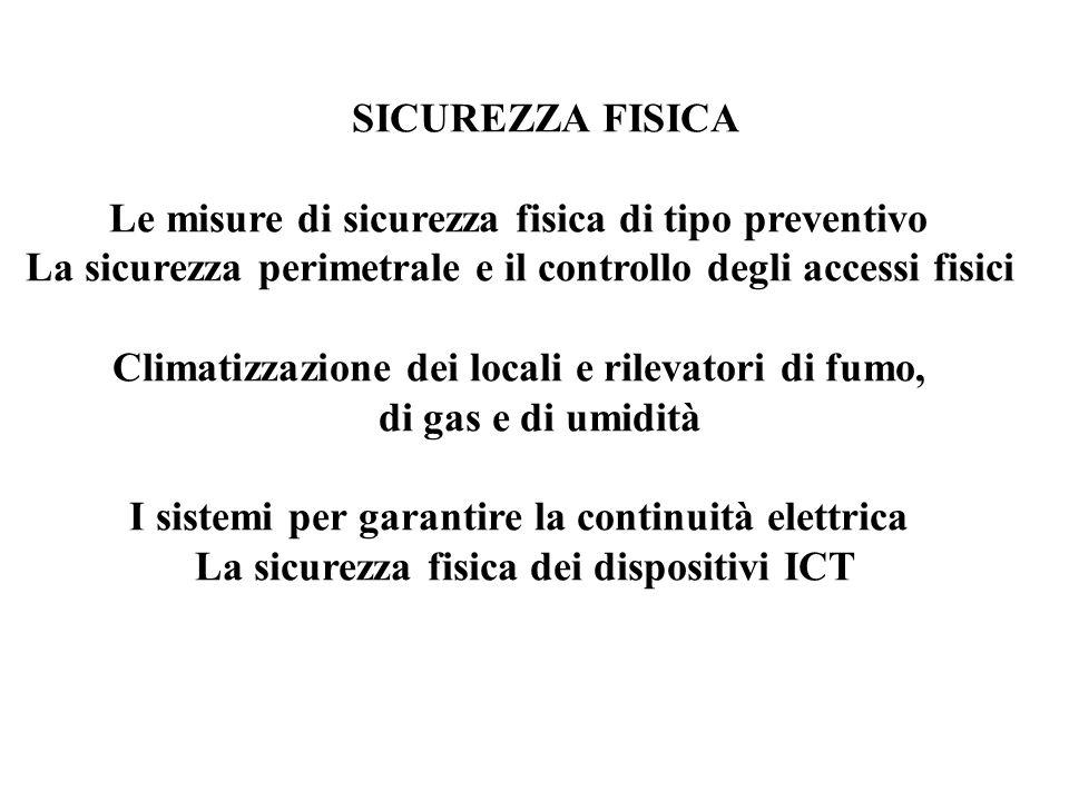 SICUREZZA FISICA Le misure di sicurezza fisica di tipo preventivo La sicurezza perimetrale e il controllo degli accessi fisici Climatizzazione dei locali e rilevatori di fumo, di gas e di umidità I sistemi per garantire la continuità elettrica La sicurezza fisica dei dispositivi ICT